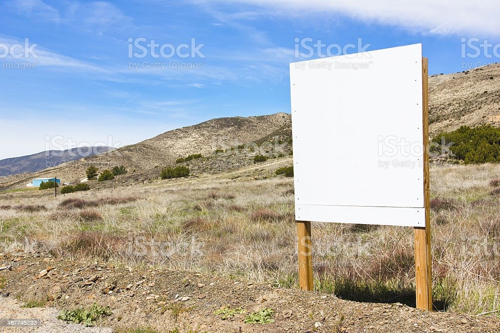 Rural Scene Blank Sign stock photo