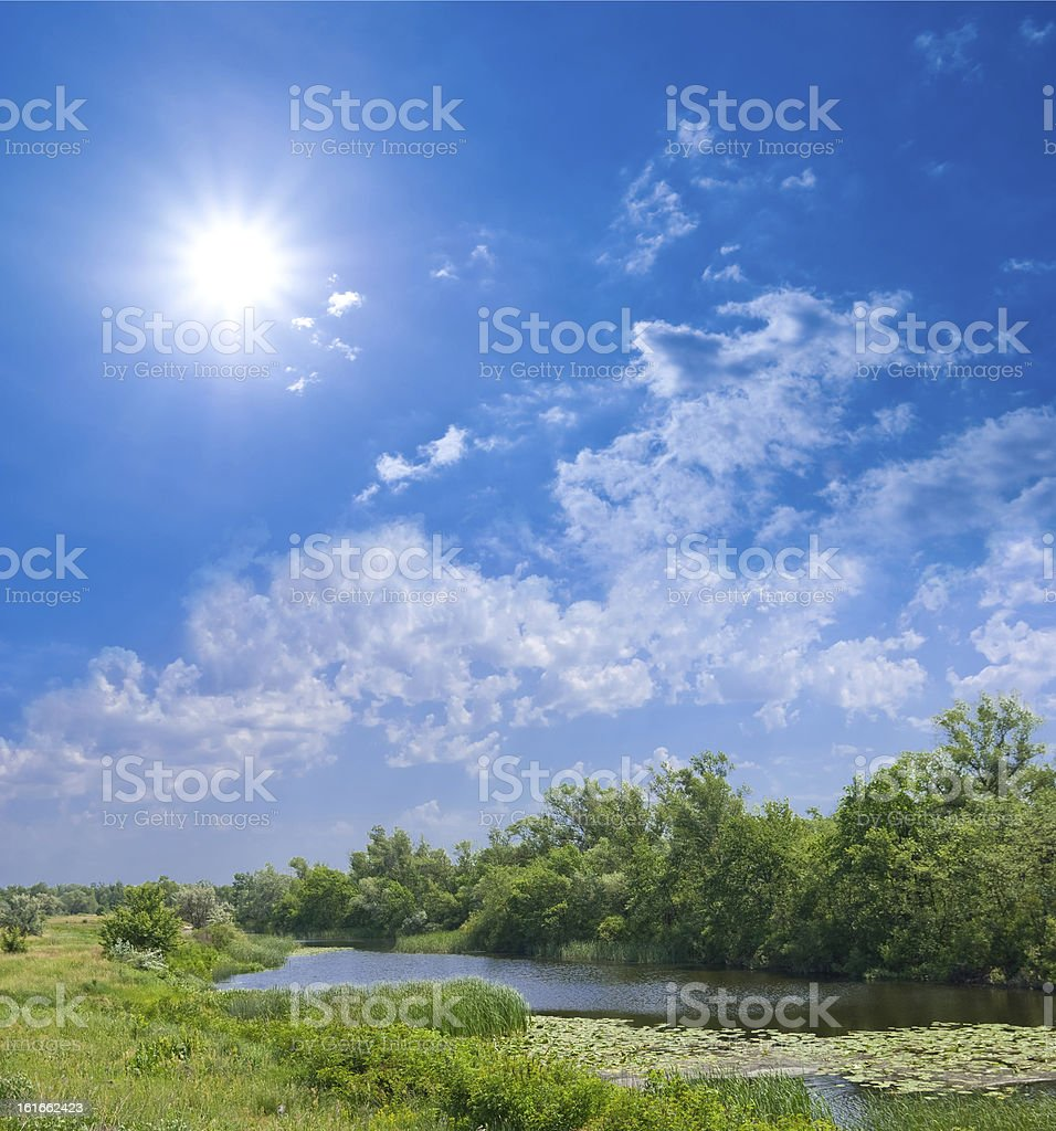 rural scene meadow and a river royalty-free stock photo