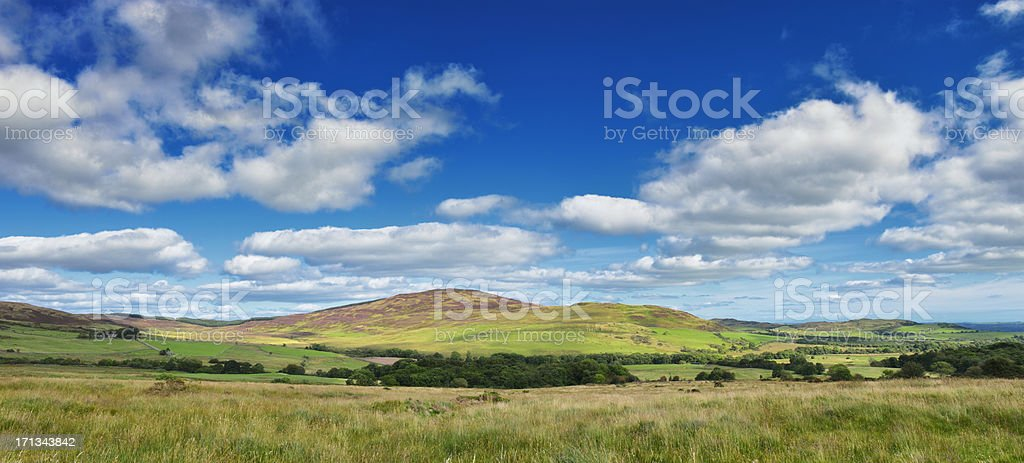 Rural scene of Scottish countryside on a sunny day stock photo