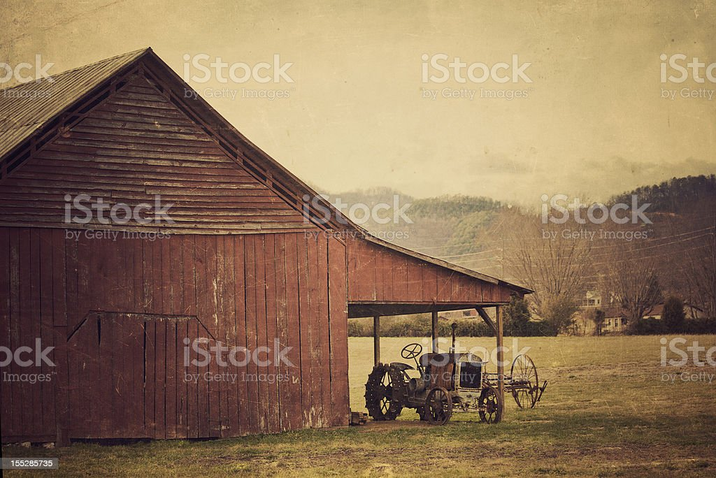 rural scene tractor and barn in tennessee royalty-free stock photo