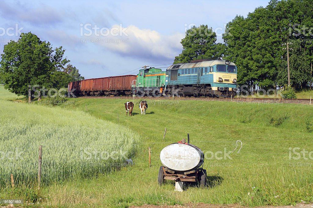 Rural scene with a freight train stock photo