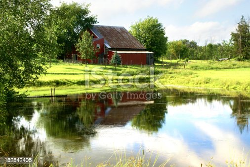 Rural Scene with red barn and pondClick on the banner below for similar images: