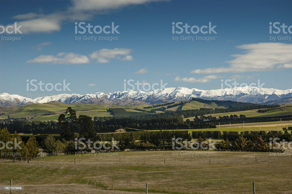 Rural Scene with snowcapped mountains, Canterbury, New Zealand royalty-free stock photo