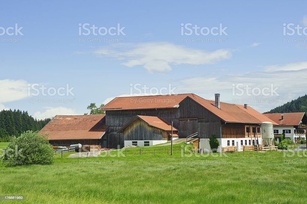 rural scenery with beautiful farm house stock photo