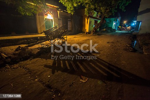 Indian rural scenic view in night showing bullock cart shadow in tungsten light.