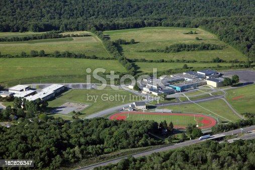 istock Rural School Campus Aerial 182826347