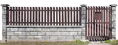 istock Rural simple fence from brown vertical wooden boards. Columns  and basis made from uneven beaten white bricks.  Isolated on white background 683956640