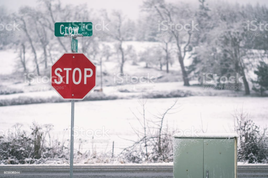 Rural Stop Sign in the Snow stock photo