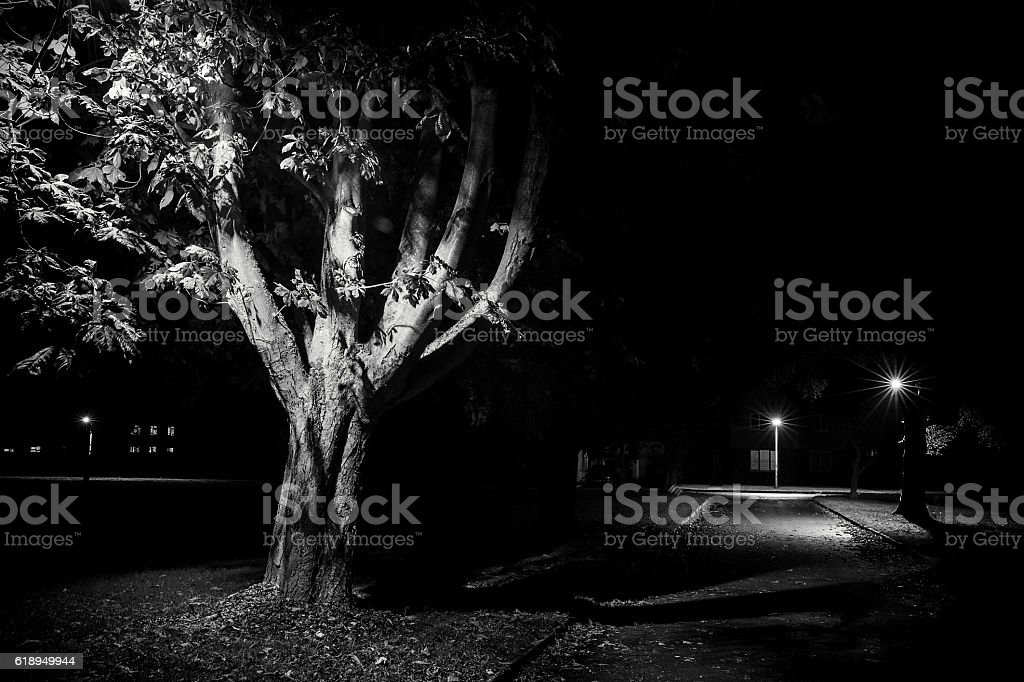 Rural street live at night stock photo