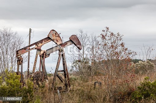 Rural Texas - Rusty abandonded oil pumps