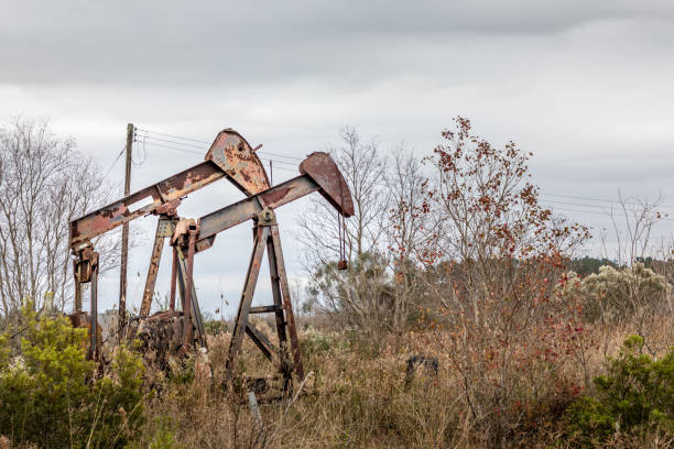 Rural Texas - Rusty abandonded oil pumps stock photo