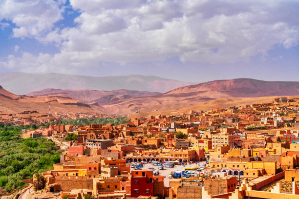 Rural town in Morocco stock photo