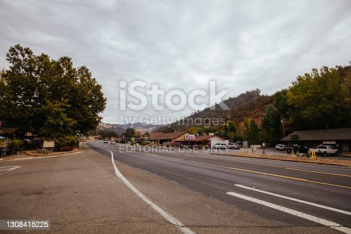 Coarsegold, USA - October 15 2016: Shops and building architecture in Coarsegold, California, USA