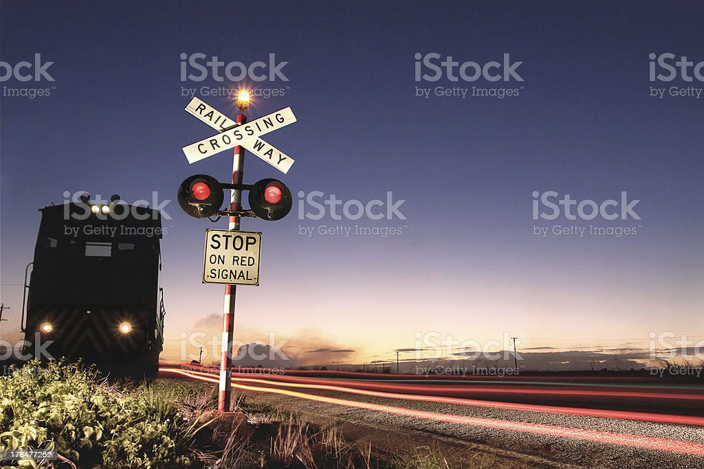Rural Train Crosssing stock photo