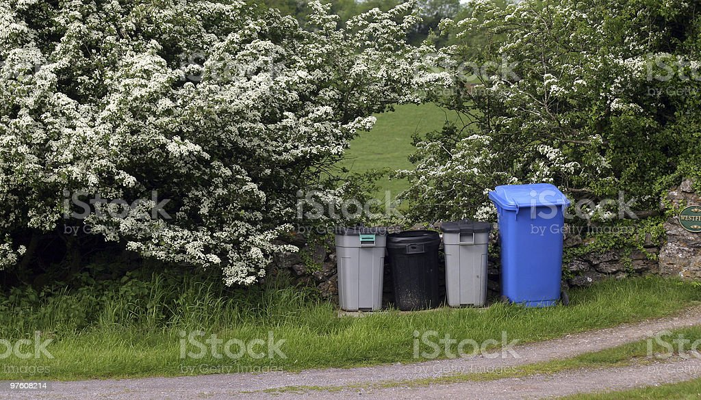 Rural Trash bins royalty-free stock photo