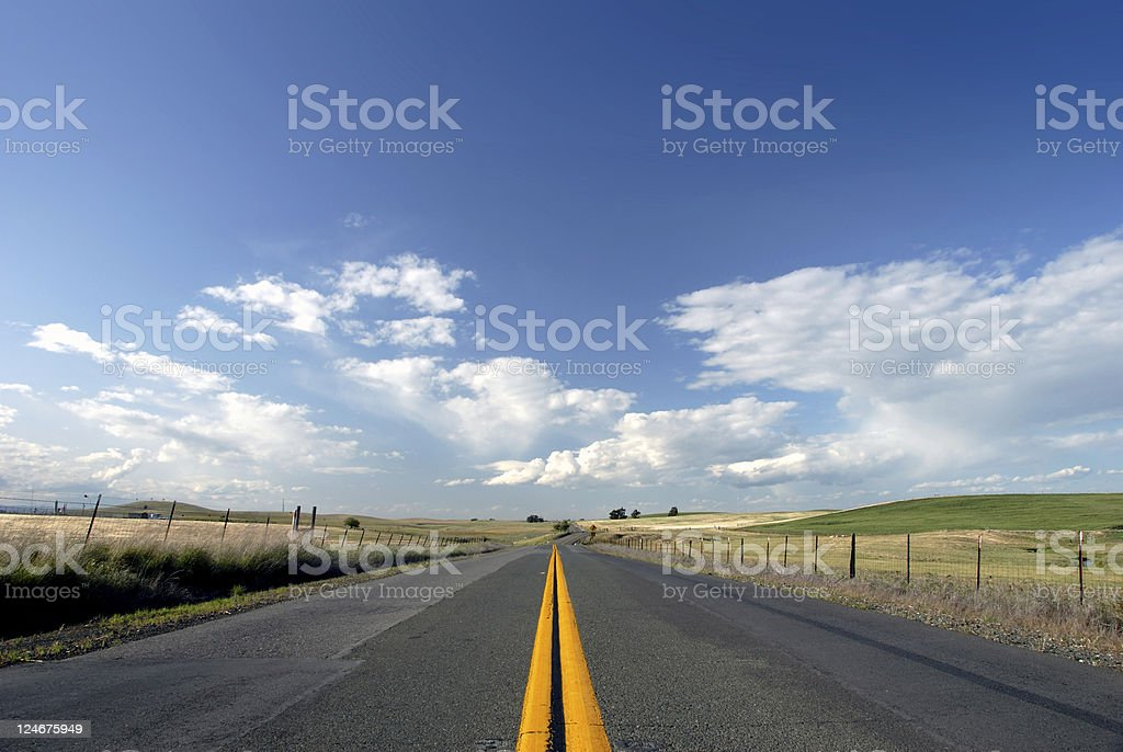 Rural Two Lane Road stock photo
