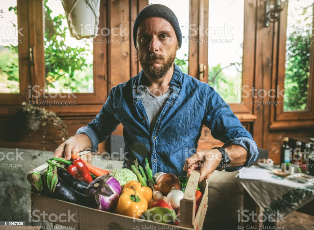 Rural vegetable garden products at display stock photo