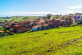 istock Rural view of a small town on sunny day, Prellezo, Spain 1212355433