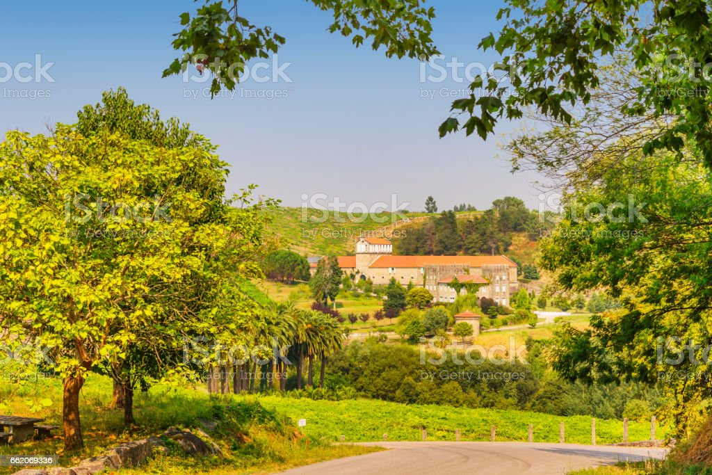 Rural view of Baion manor house stock photo
