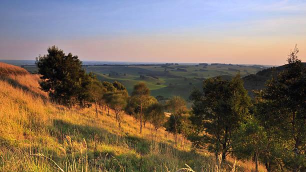 rural view of black hill in camperdown, victoria - victoria australia foto e immagini stock