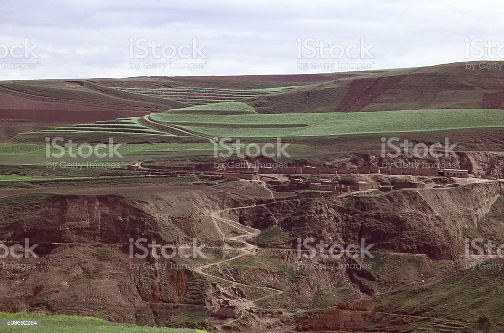 Rural Village eroded landscape Loess Plateau Inner Mongolia China stock photo