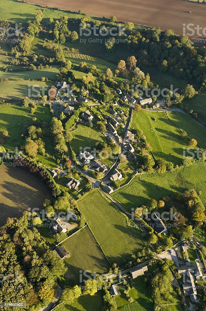 Rural village farm fields aerial view royalty-free stock photo