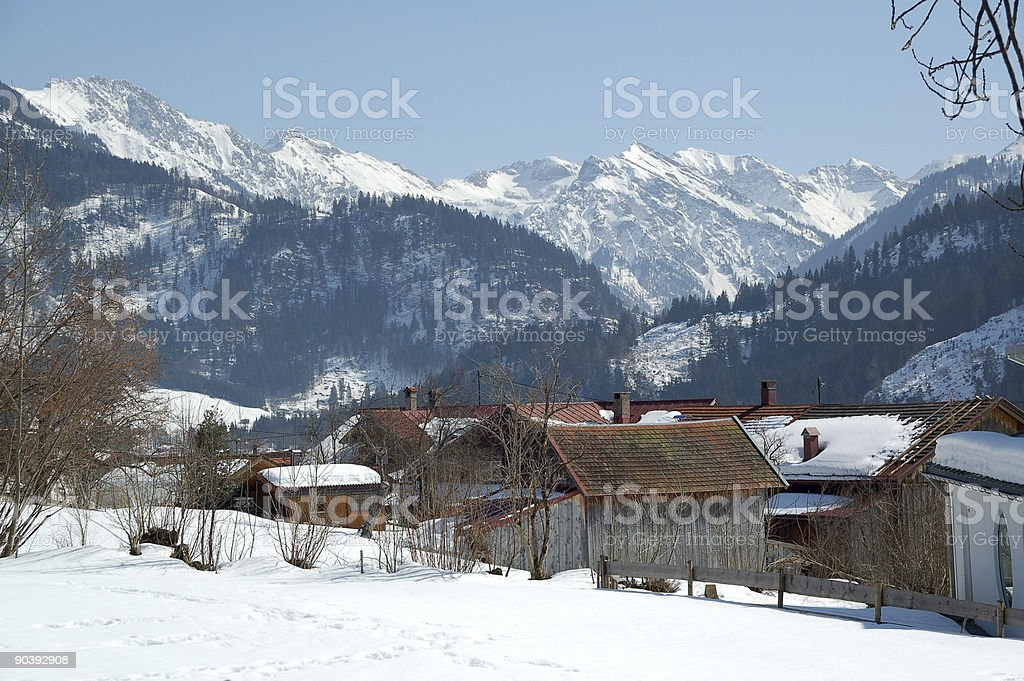Rural village in the Alps royalty-free stock photo