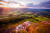 Wide angle of scenic rural landscape in Wales