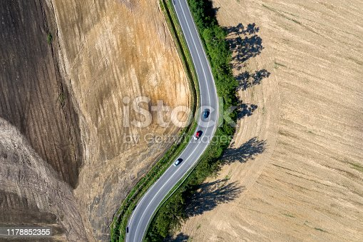 istock Rural Winding Road from Above 1178852355