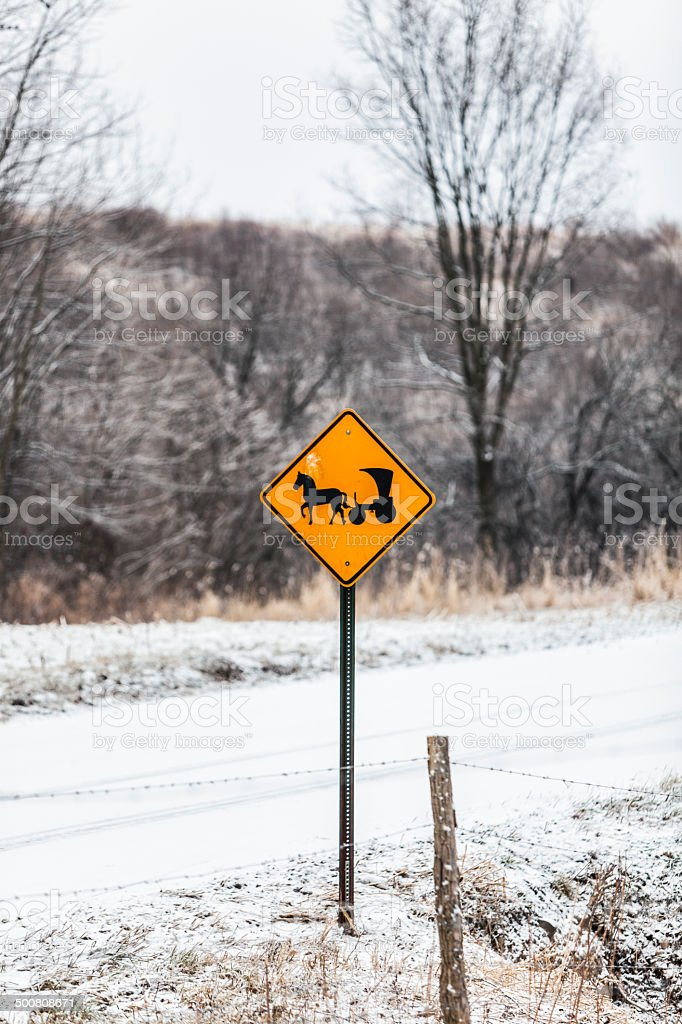 Rural Winter Amish Horse And Buggy Road Sign stock photo