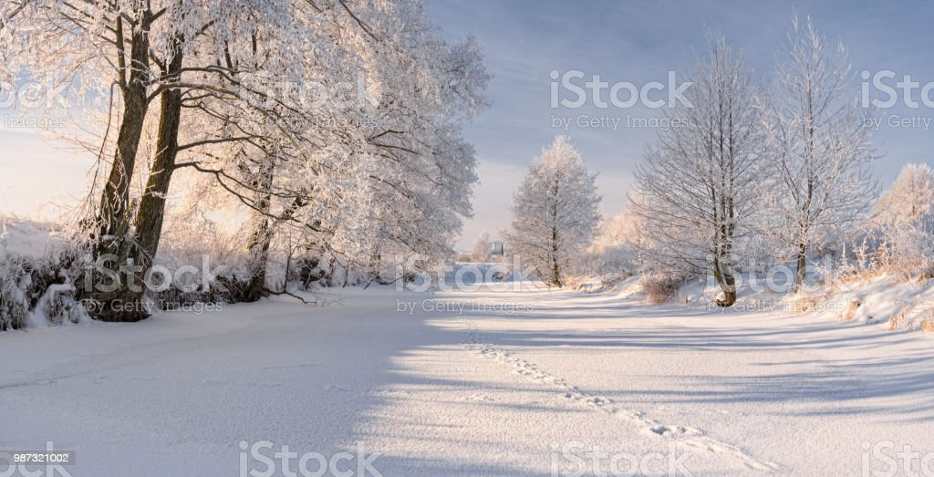 Rural Winter Landscape In Pastel Colors With Frozen