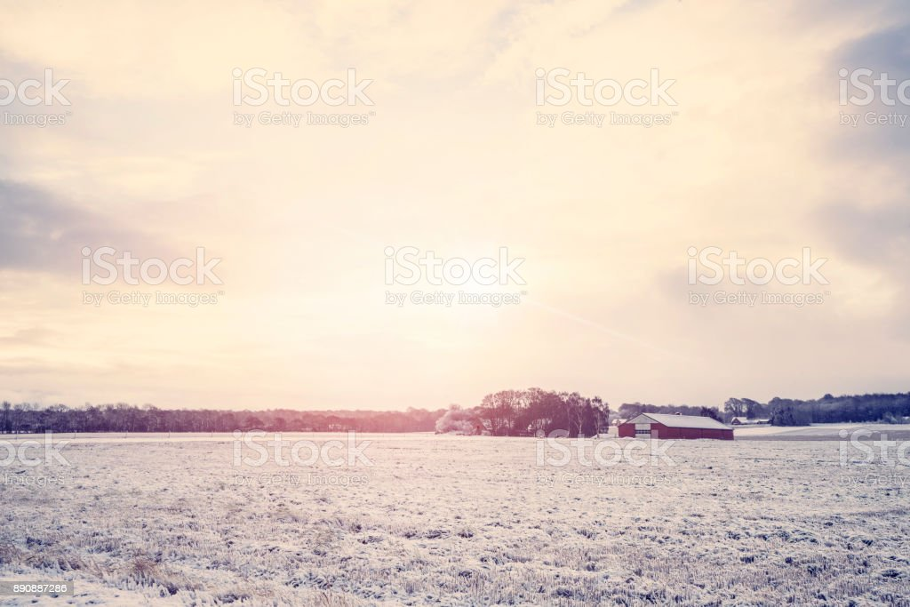 Rural winter landscape with a red barn stock photo