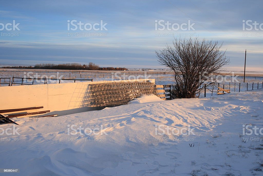 rural winter scene fence panels in snow royalty-free stock photo