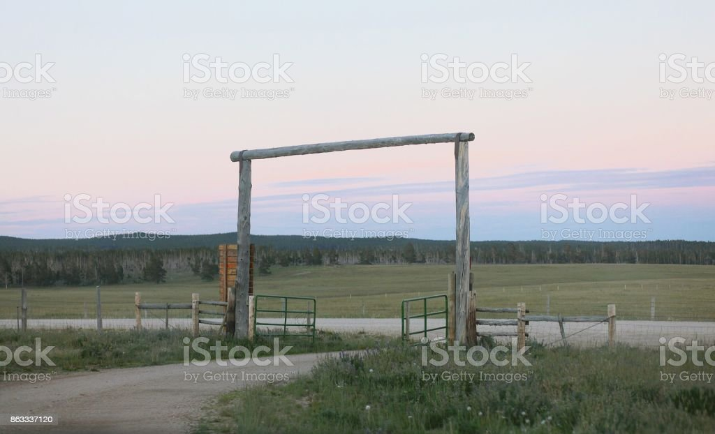 Rural Wooden Fence Entry Way stock photo
