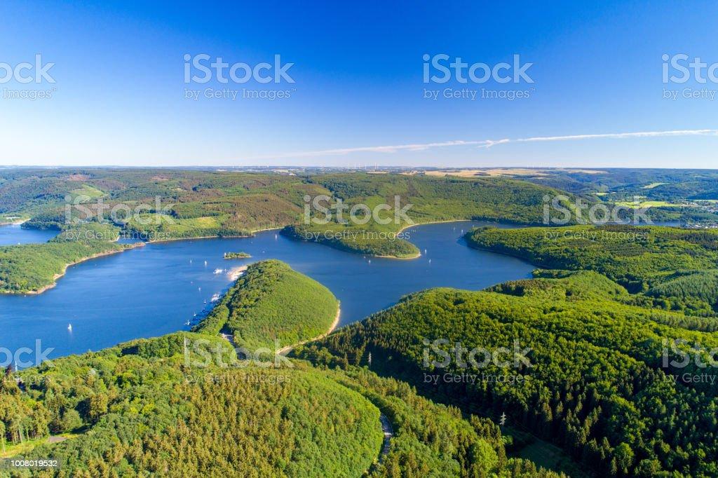 Rursee, Deutschland - Lizenzfrei Ansicht von oben Stock-Foto