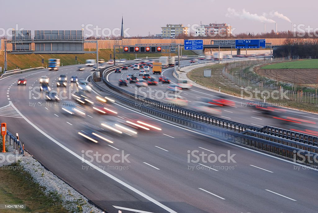 rush hour at munich, motion blur, twilight stock photo