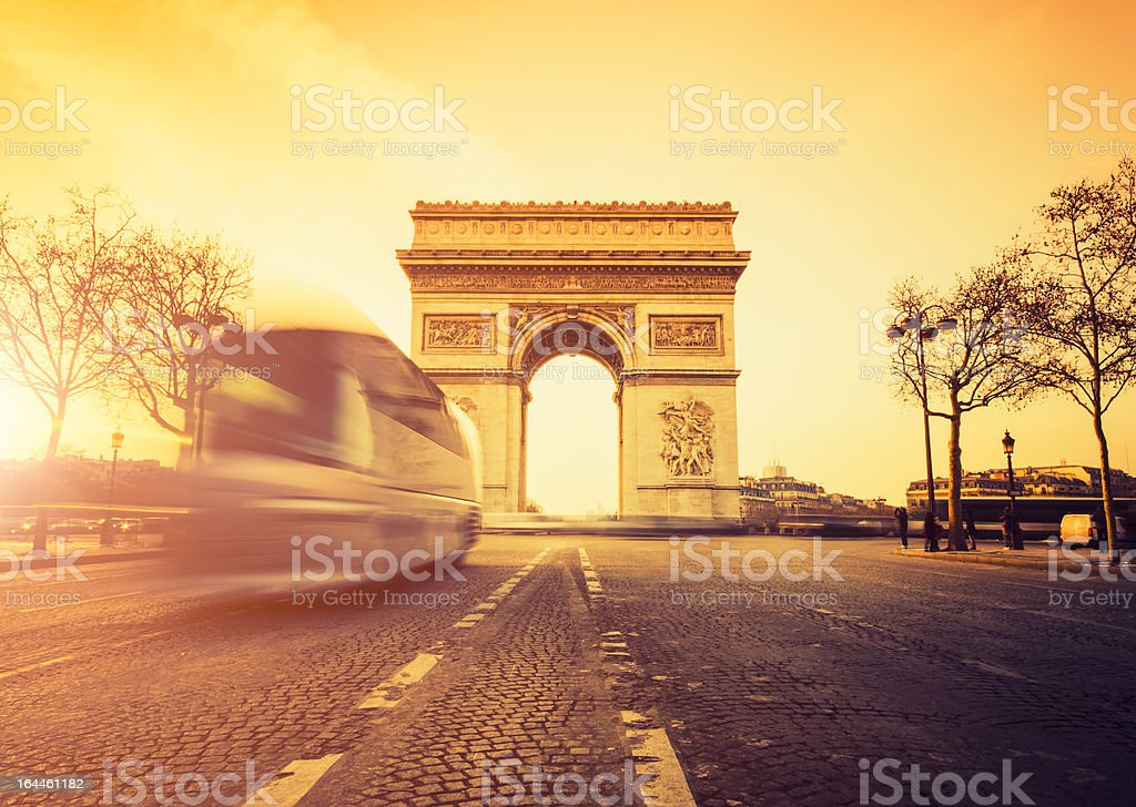 Rush hour at the Arc de Triomphe in Paris royalty-free stock photo