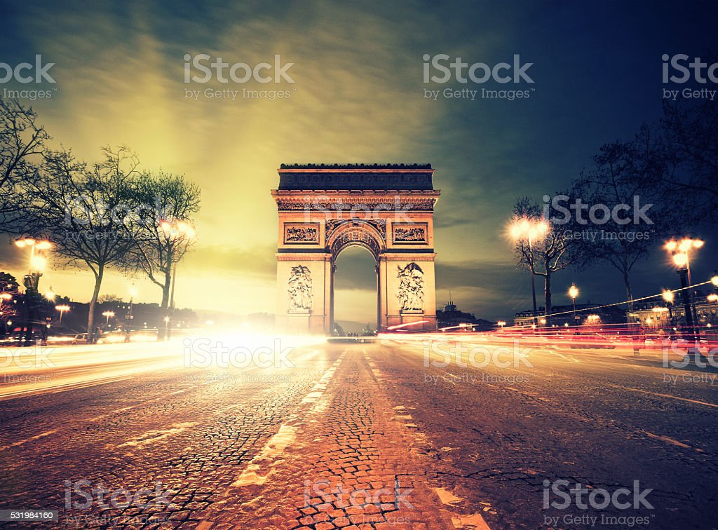Rush hour at the Arc de Triomphe in Paris stock photo