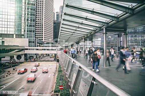 Rush hour at the financial district of Hong Kong.