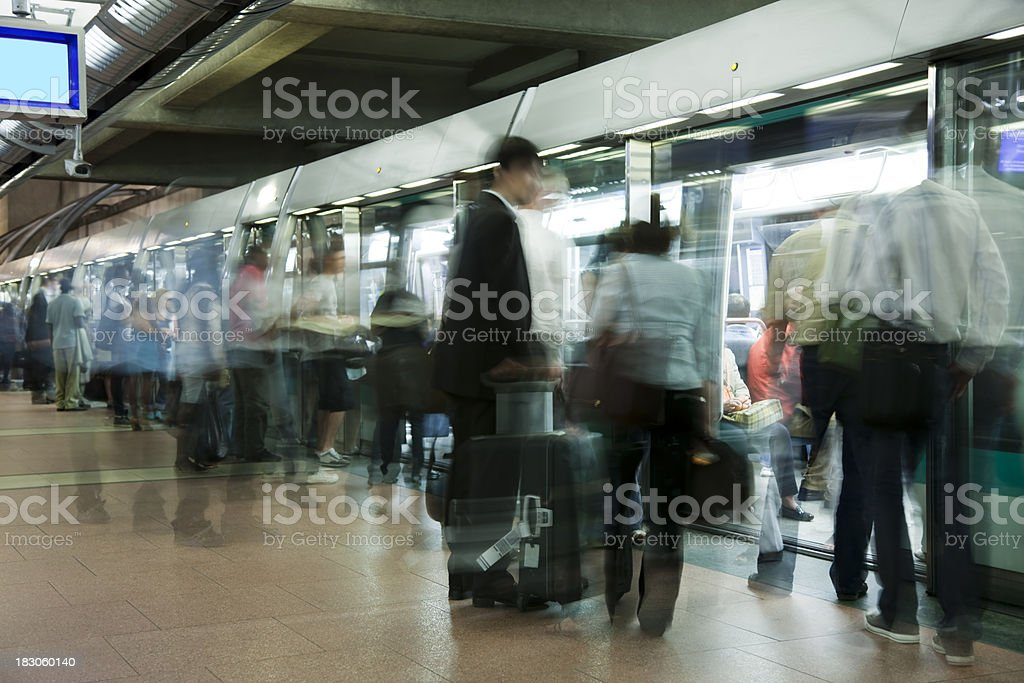 Rush Hour at Undeground Station in Paris, Motion Blur royalty-free stock photo