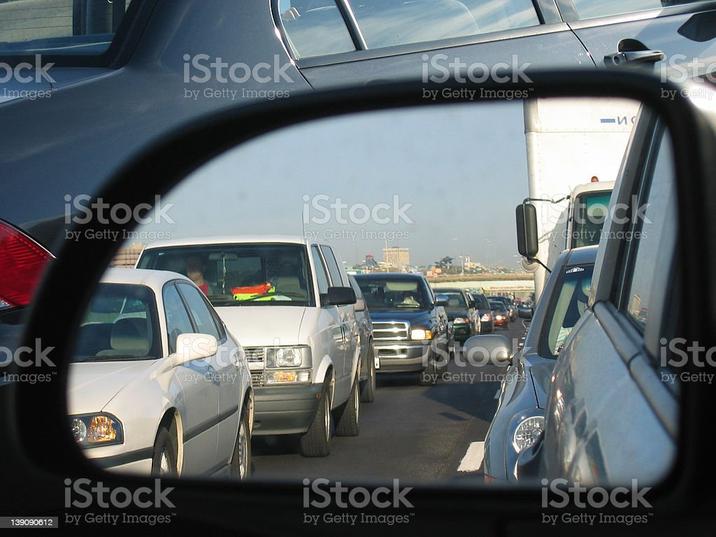 Rush Hour Commute Reflection 1 royalty-free stock photo
