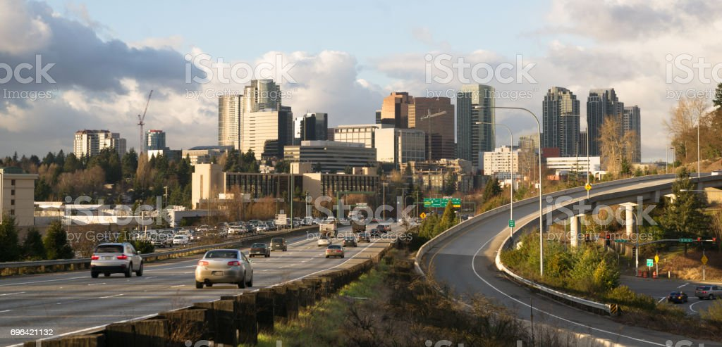 Rush Hour Highway Landscape Bellevue Washington Downtown City Skyline stock photo