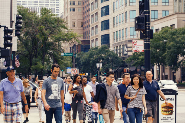 Rush hour in downtown Chicago stock photo