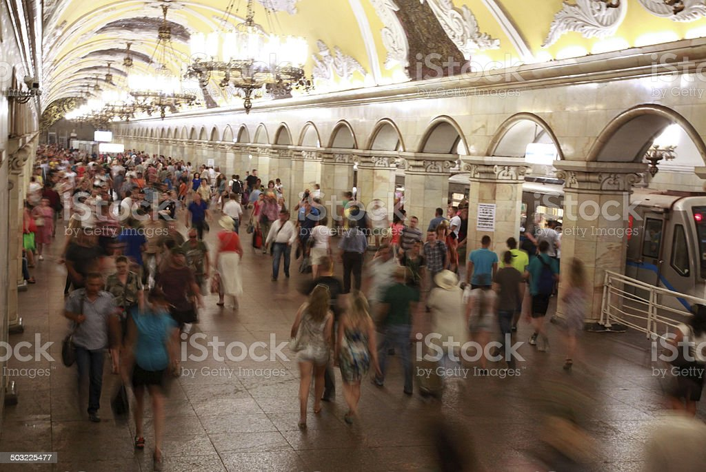 Rush hour in the metro station stock photo
