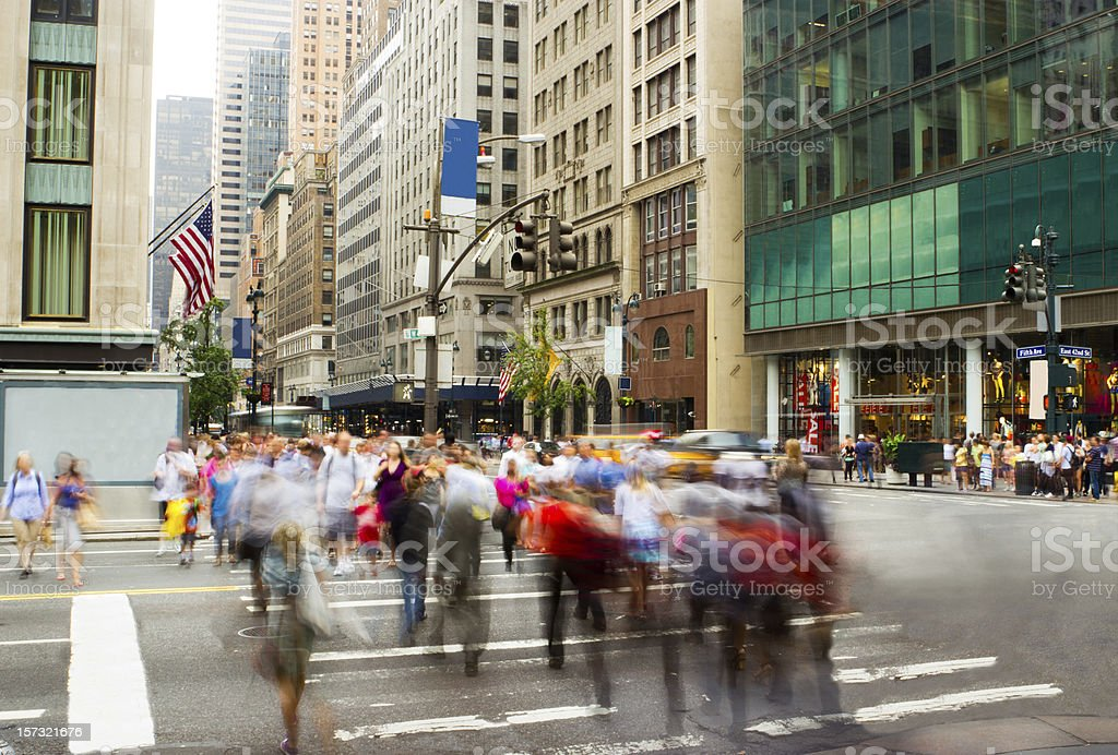 Rush hour on Fifth Avenue, New York stock photo