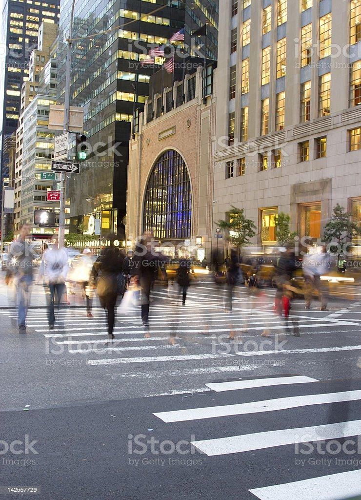 Rush hour on Fifth Avenue, NY stock photo