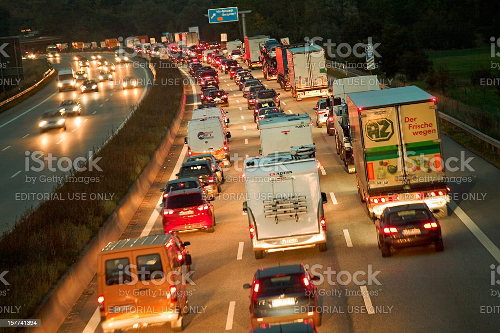 Rush Hour on the Highway A1 Autobahn at night, Germany stock photo