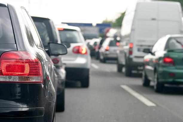 Rush hour on the highway stock photo