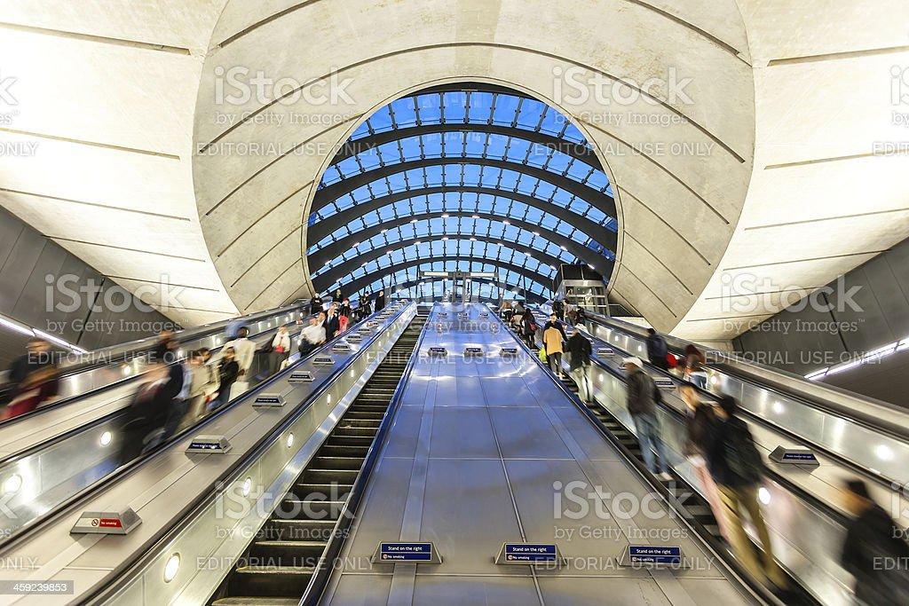 Rush Hour on Underground Station, Canary Wharf, London stock photo