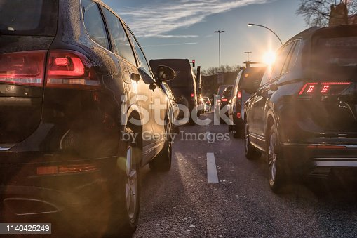 early rush hour scene with lens flares